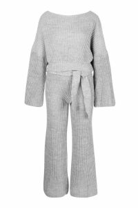 Womens Knitted Trouser & Jumper Co-ord - grey - L, Grey