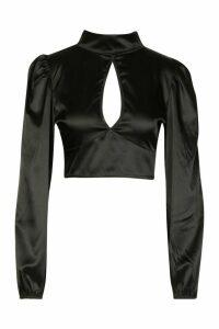 Womens Satin Volume Sleeve Open Front Top - black - 12, Black