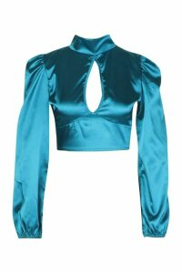 Womens Satin Volume Sleeve Open Front Top - blue - 12, Blue