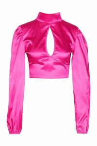 Womens Satin Volume Sleeve Open Front Top - pink - 8, Pink