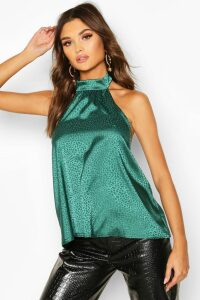 Womens Hammered Satin Halter Neck Top - Green - 14, Green