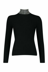 Womens Diamante Embellished Roll Neck Top - black - M, Black