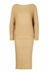 Womens Knitted Oversized Jumper & Midi Skirt Co-ord - beige - M/L, Beige