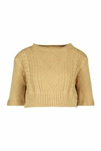 Cable Knit 2 In 1 Jumper & Shirt - beige - M, Beige