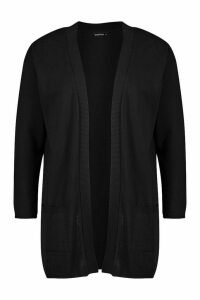 Womens Recycled Longline Cardigan - black - 14/16, Black