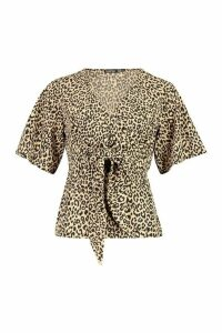 Womens Knot Front Woven Leopard Blouse - brown - 8, Brown