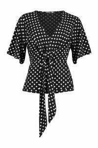 Womens Knot Front Woven Polka Dot Blouse - black - 10, Black