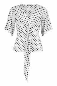 Womens Knot Front Woven Polka Dot Blouse - white - 12, White