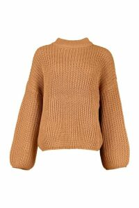 Womens Oversized Balloon Sleeve Jumper - beige - S/M, Beige