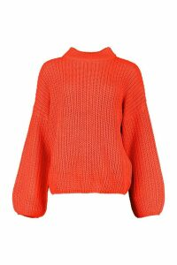 Womens Oversized Balloon Sleeve Jumper - orange - M/L, Orange