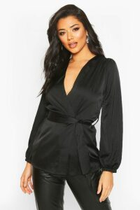 Womens Satin Wrap Front Blouse - black - 16, Black