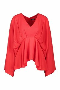 Womens Pleat Front Peplum Top - red - 10, Red