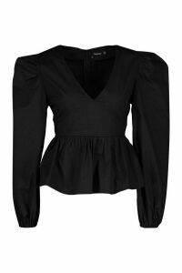 Womens Woven Puff Sleeve Peplum Top - black - 6, Black