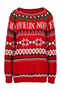Womens Christmas Joyeux Noel Slogan Jumper - red - M, Red
