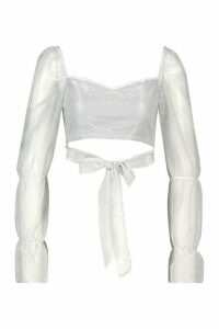 Womens Glitter Sheer Mesh Tie Front Crop Top - grey - 14, Grey