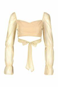 Womens Glitter Sheer Mesh Tie Front Crop Top - beige - 14, Beige
