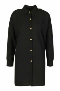Womens Woven Oversized Pocket Shirt - black - 16, Black