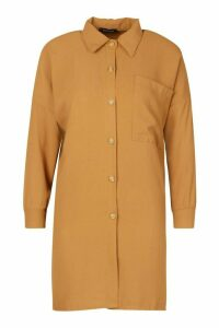 Womens Woven Oversized Pocket Shirt - beige - 16, Beige
