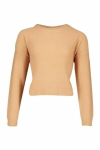 Womens Boxy Scoop Neck Jumper - beige - M, Beige