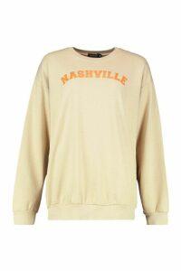 Womens Nashville Slogan Print Sweatshirt - cream - M, Cream