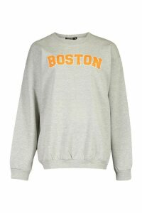Womens Boston Slogan Print Sweatshirt - grey - L, Grey