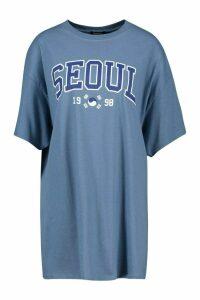 Womens Seoul Slogan Print T-Shirt - blue - L, Blue