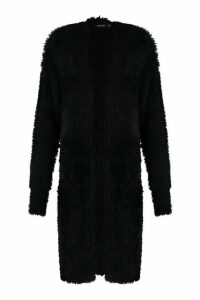 Womens Premium Fluffy Knit Cardigan - black - M/L, Black