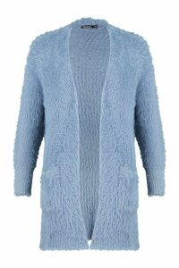 Womens Premium Fluffy Knit Cardigan - blue - M/L, Blue