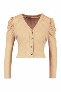 Womens Petite Volume Sleeve Rib Cardigan - beige - 10, Beige