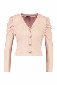 Womens Petite Volume Sleeve Rib Cardigan - Pink - 4, Pink