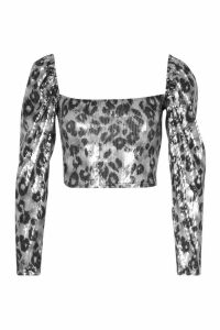 Womens Petite Leopard Sequin Square Neck Puff Sleeve Top - Black - 14, Black