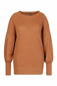 Womens Plus Oversized Balloon Sleeve Jumper - Brown - 24-26, Brown