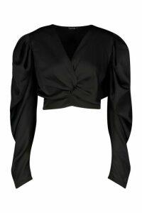 Womens Petite Volume Sleeve Twist Front Satin Top - black - 14, Black