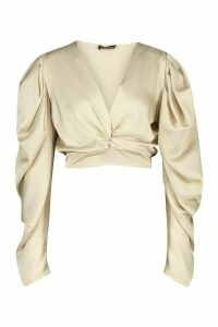 Womens Petite Volume Sleeve Twist Front Satin Top - Beige - 4, Beige