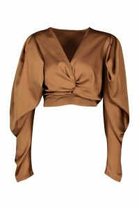 Womens Petite Volume Sleeve Twist Front Satin Top - Orange - 8, Orange
