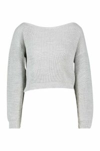 Womens Petite Slash Neck Cropped Jumper - silver grey - L, Silver Grey