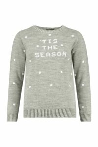 Womens Petite Slogan Spot Christmas Jumper - grey - M, Grey