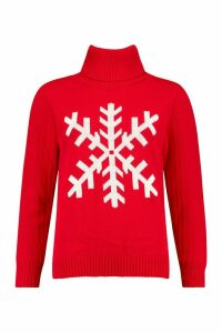 Womens Petite Roll Neck Snowflake Christmas Jumper - red - M, Red