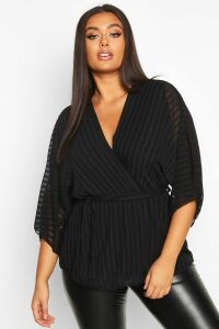 Womens Plus Stripe Kimono Sleeve Peplum Wrap Tie Blouse - Black - 20, Black