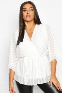Womens Plus Stripe Kimono Sleeve Peplum Wrap Tie Blouse - white - 20, White