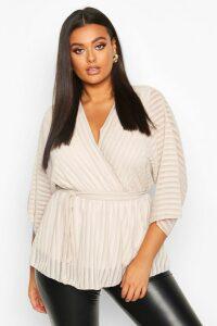 Womens Plus Stripe Kimono Sleeve Peplum Wrap Tie Blouse - beige - 20, Beige