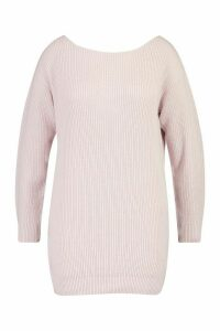 Womens Plus Slash Neck Fisherman Jumper - pale lilac - 24-26, Pale Lilac