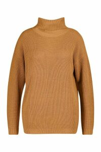 Womens Plus Roll Neck Knitted Jumper - beige - 24-26, Beige