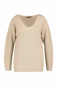 Womens Plus Oversized V-Neck Jumper - Pink - 16-18, Pink