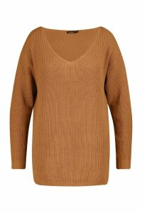 Womens Plus Oversized V-Neck Jumper - Beige - 16-18, Beige