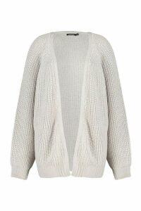 Womens Plus Chunky Knit Raglan Sleeve Cardigan - grey - XXL, Grey