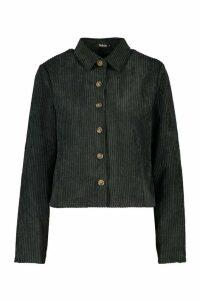 Womens Jumbo Cord Shirt - black - 10, Black
