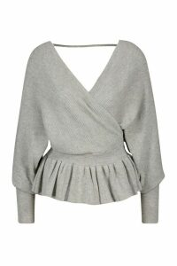 Womens Batwing Wrap Front Slouchy Jumper - grey - M/L, Grey