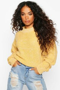 Womens Petite Waffle Knit Marl Knitted Jumper - yellow - M, Yellow