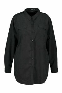 Womens Plus Suedette Pocket Detail Oversized Shirt - black - 22, Black